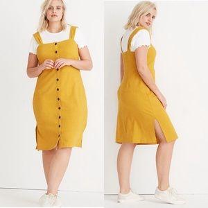 NEW Madewell Button Front Mustard Yellow Dress XXL
